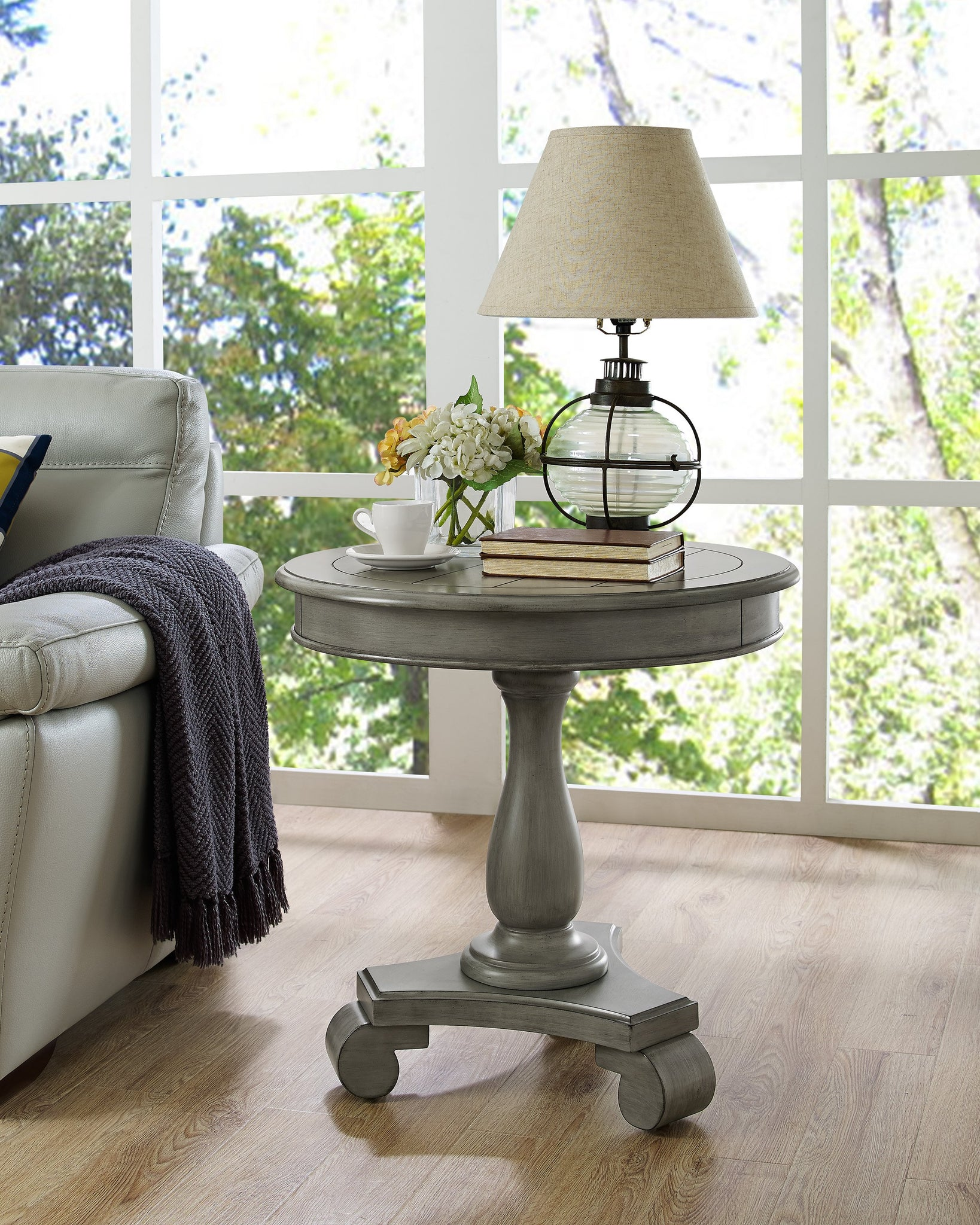 Rene Round Wood Pedestal Side Table, Gray