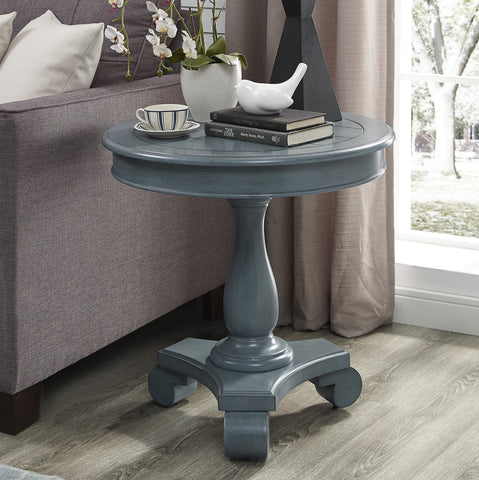 Rene Round Wood Pedestal Side Table, Teal