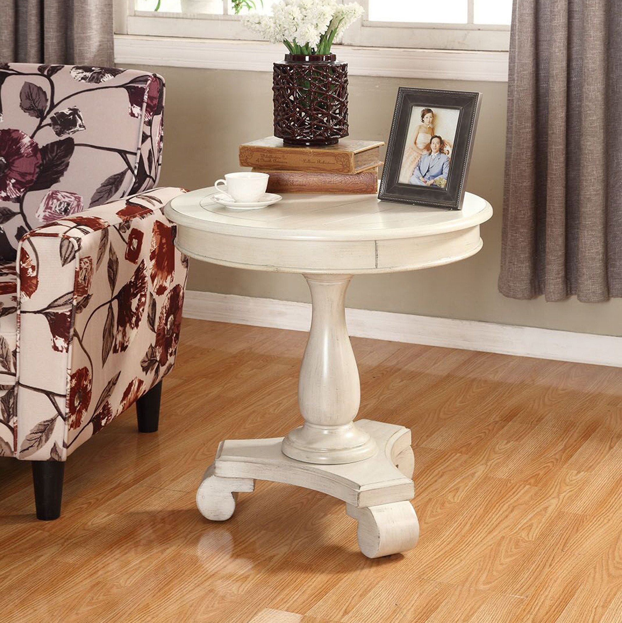 Rene White Round Wood Pedestal Side Table