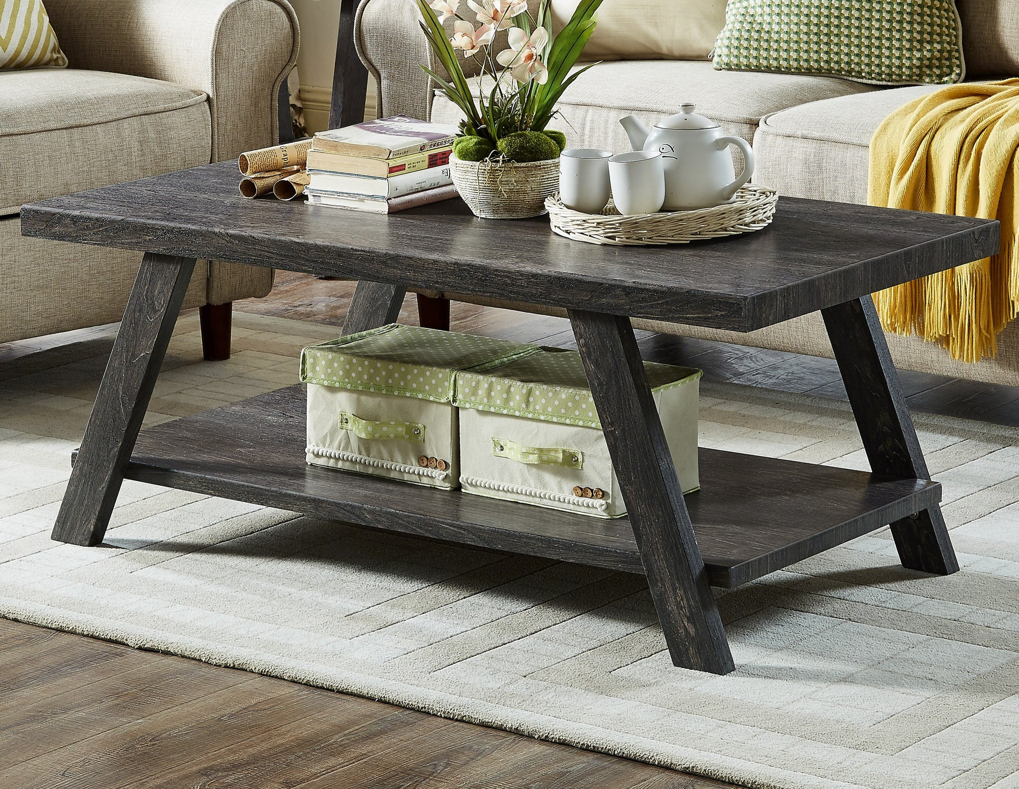 Athens Contemporary Replicated Wood Shelf Coffee Table in Charcoal Finish