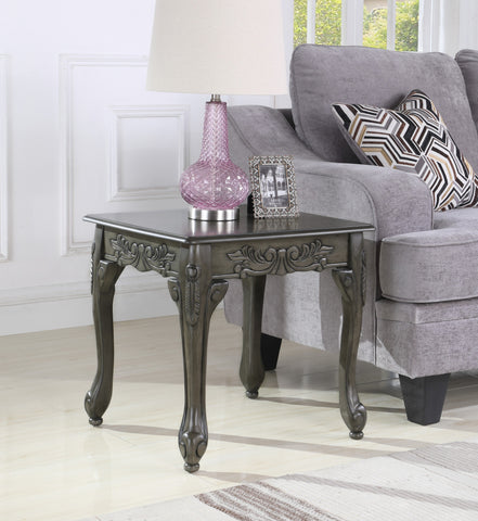 Traditional Ornate Detailing Grey Finish Wood End Table
