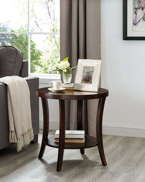 Perth Espresso Round End Table with Shelf