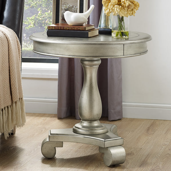 Rene Round Wood Pedestal Side Table, Champagne
