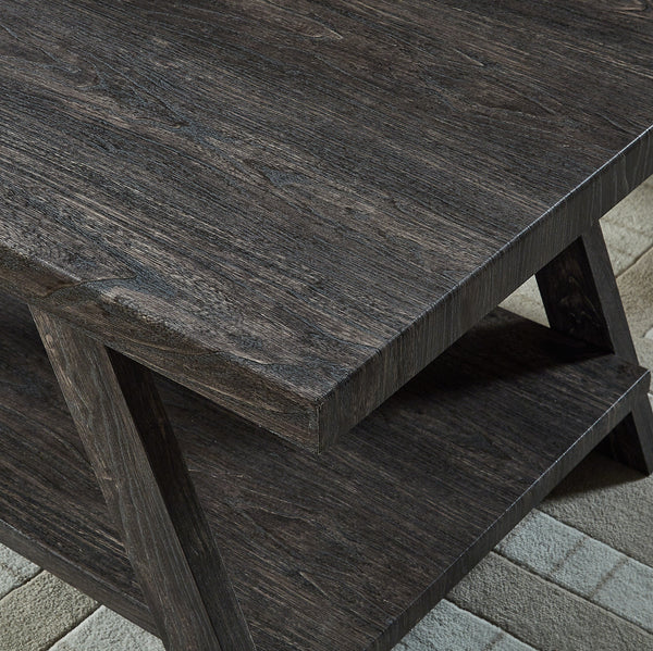 Athens Contemporary Replicated Wood Shelf End Table in Charcoal Finish