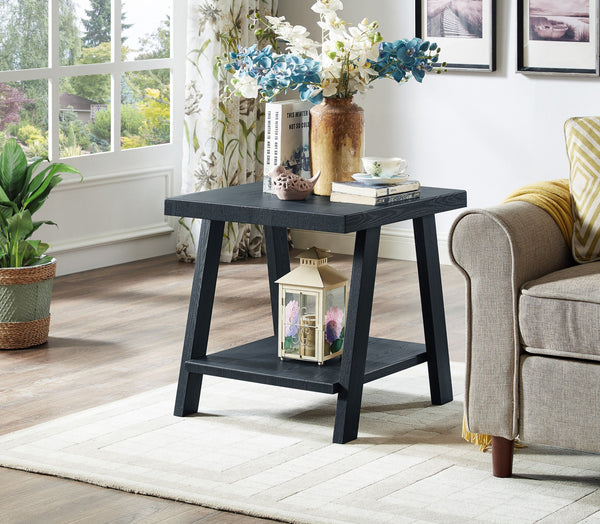 Athens Contemporary Replicated Wood Shelf End Table in Black Finish