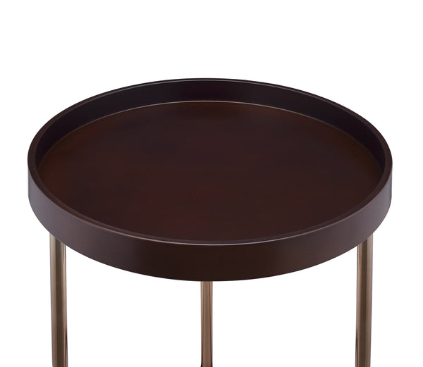Genoa Round Tray Table with Metal Frame, Espresso