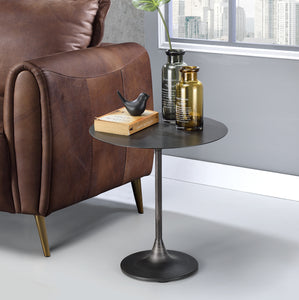 Kestrel Brushed Black Metal Pedestal End Table