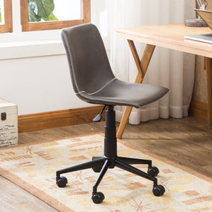 Cesena Faux Leather 360 Swivel Air Lift Office Chair, Antique Gray