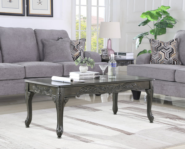 3Pc Grey Finish Wood Coffee & End Table Set