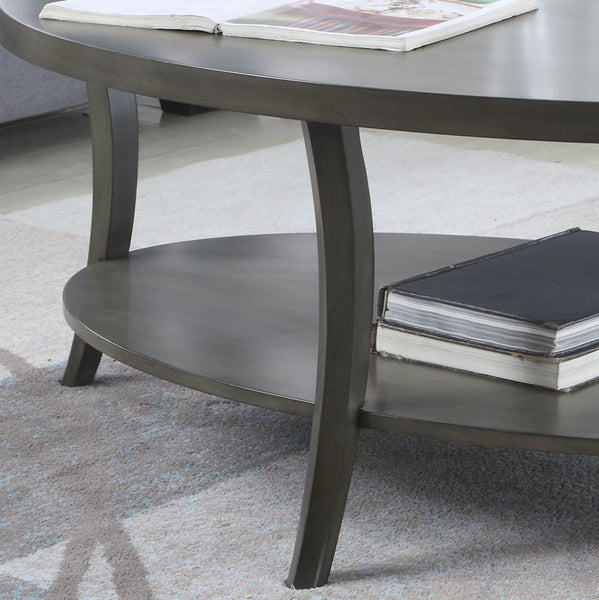 Perth Contemporary Oval Shelf Coffee Table Set, Gray