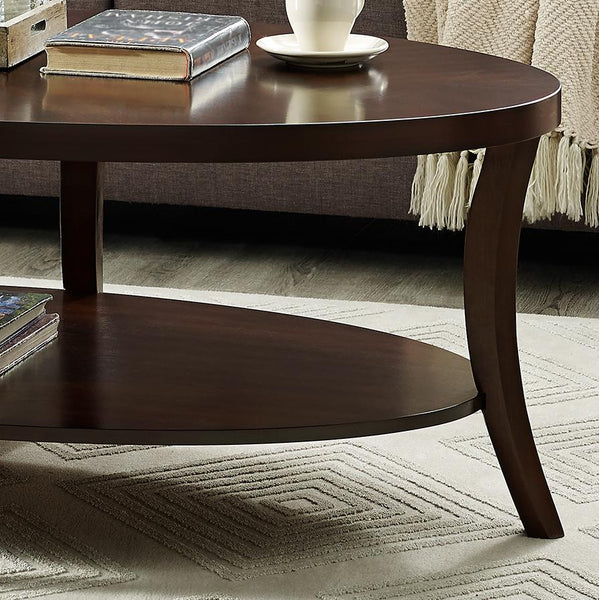 Perth 3-Piece Espresso Oval Coffee Table with End Tables Set