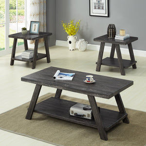 Athens Contemporary Replicated Wood Shelf Coffee Set Table in Charcoal Finish