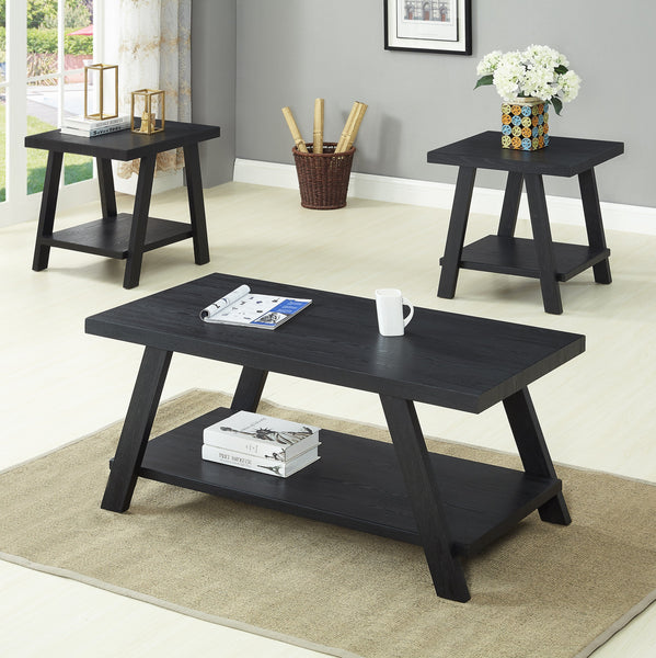 Athens Contemporary Replicated Wood Shelf Coffee Set Table in Black Finish