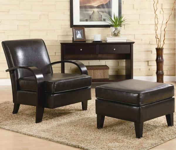 Brown Bonded Leather Feet Ottoman