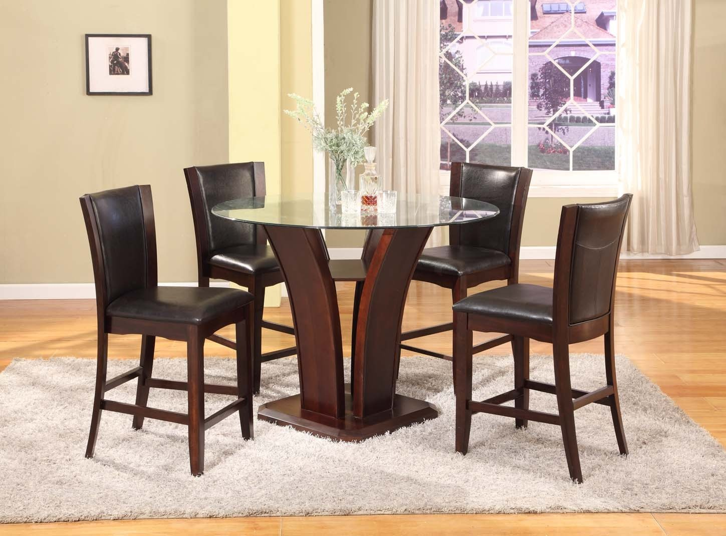 5PC Espresso Finish Glass Top Counter Height Dining Set