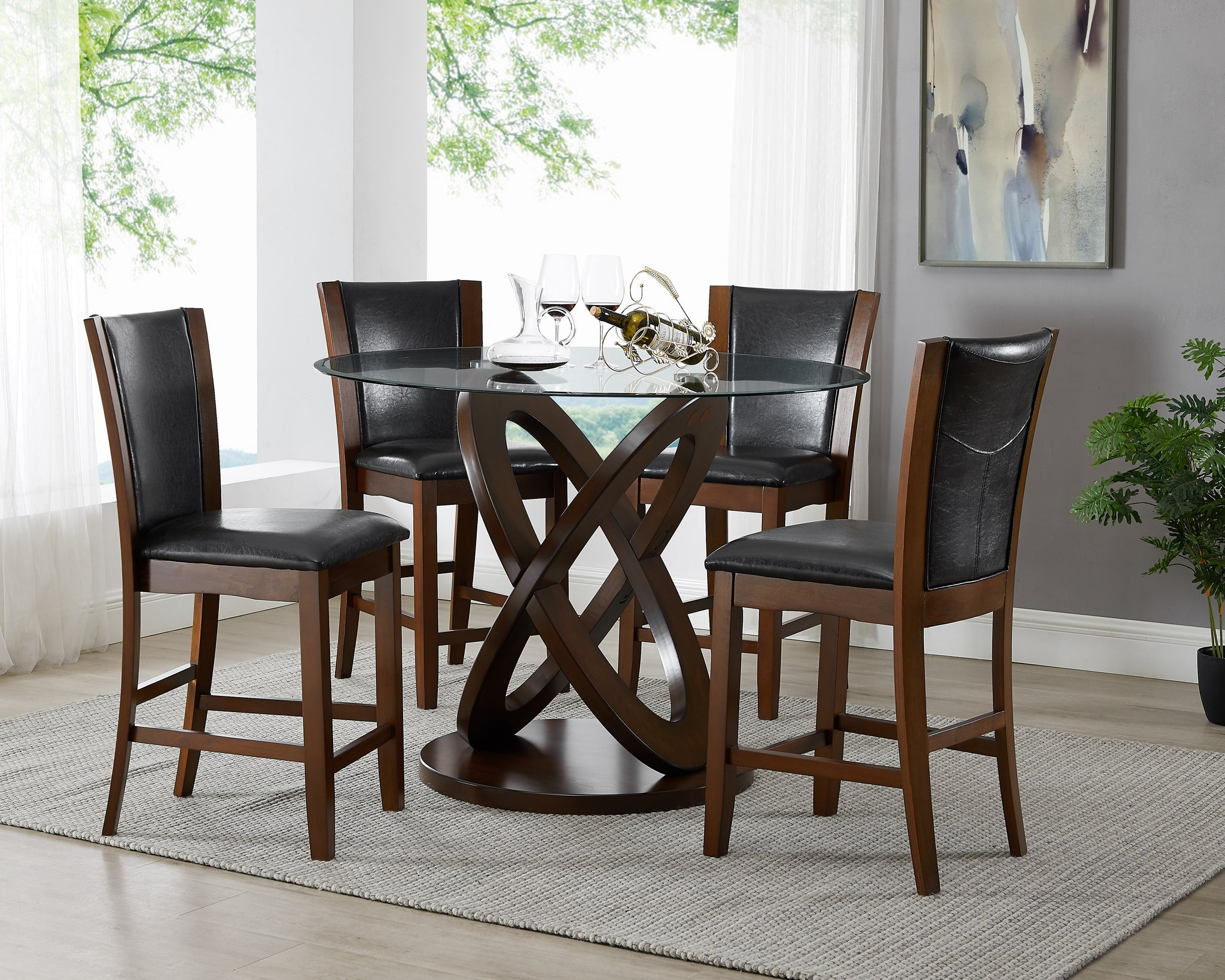 Cicicol Espresso 5PC Counter Height Glass Top Dining Table with Chairs