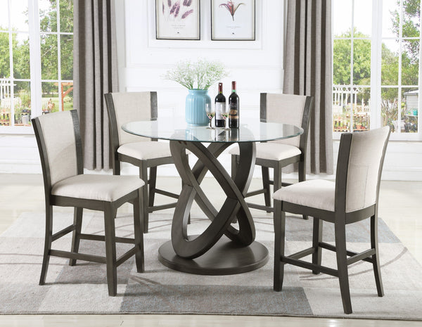 Cicicol 5 Piece Glass Top Counter Height Dining Table with Chairs, Gray