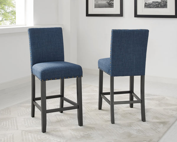 Biony Espresso Wood Counter Height Dining Set with Blue Fabric Nailhead Stools