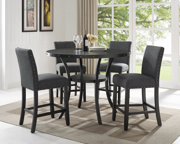 Biony Espresso Wood Counter Height Dining Set with Grey Fabric Nailhead Stools