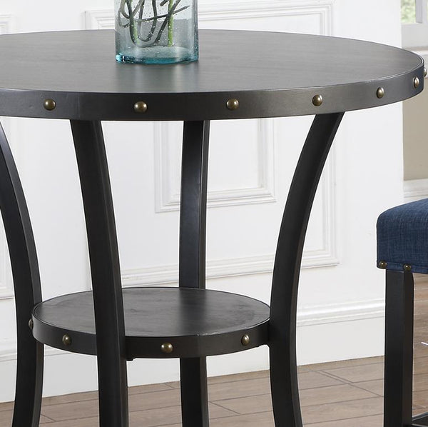 "Biony 3-Piece 36"" Round Espresso Finish Bar Table with 2 Blue Fabric Nail Head Pub Chairs"