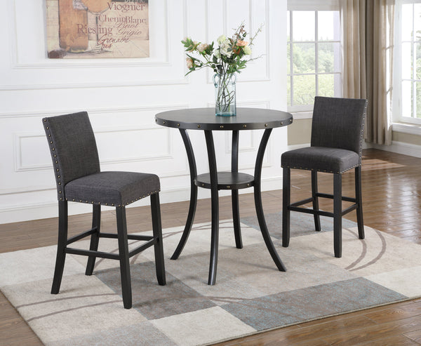 "Biony 3-Piece 36"" Round Espresso Finish Bar Table with 2 Gray Fabric Nail Head Pub Chairs"