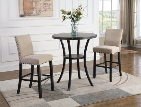 "Biony 3-Piece 36"" Round Espresso Finish Bar Table with 2 Tan Fabric Nail Head Pub Chairs"
