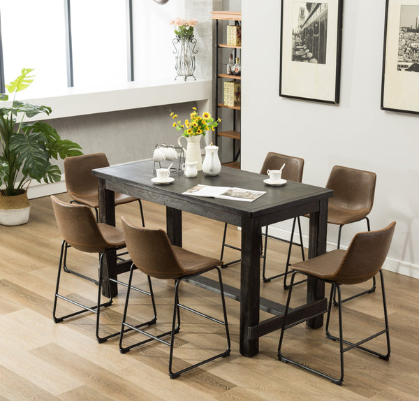 Lotusville 7-Piece Counter Height Antique Black Wood Dining Table with 6 Brown Faux Leather Chairs