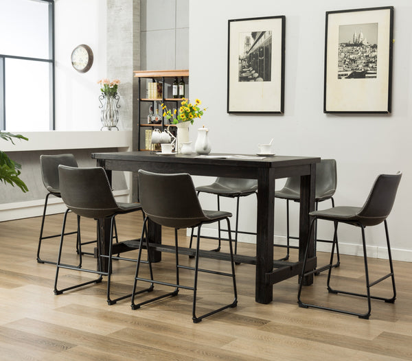 Lotusville 7-Piece Counter Height Antique Black Wood Dining Table with 6 Gray Faux Leather Chairs