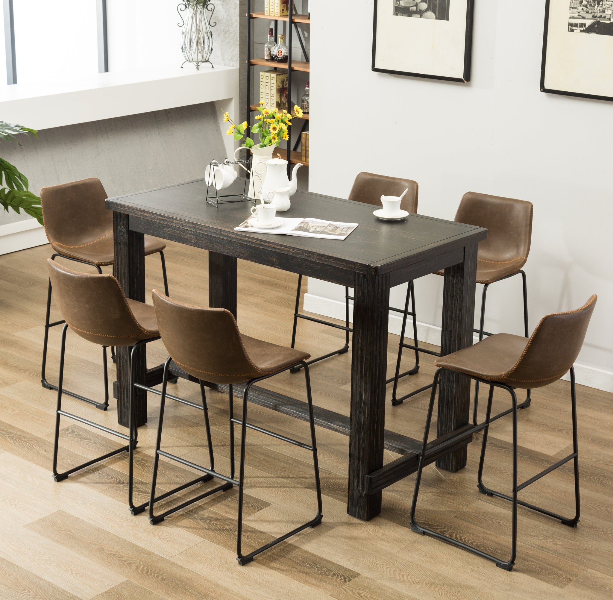 Lotusville 7-Piece Bar Height Antique Black Wood Dining Table with 6 Brown Faux Leather Chairs
