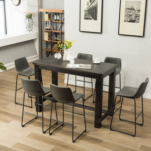 Lotusville 7-Piece Bar Height Antique Black Wood Dining Table with 6 Gray Faux Leather Chairs
