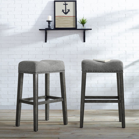 "CoCo Upholstered Backless Saddle Seat Bar Stools 29"" height Set of 2, Gray"