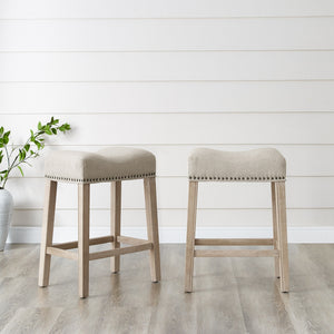 "CoCo Upholstered Backless Saddle Seat Counter Stools 24"" height Set of 2, Tan"