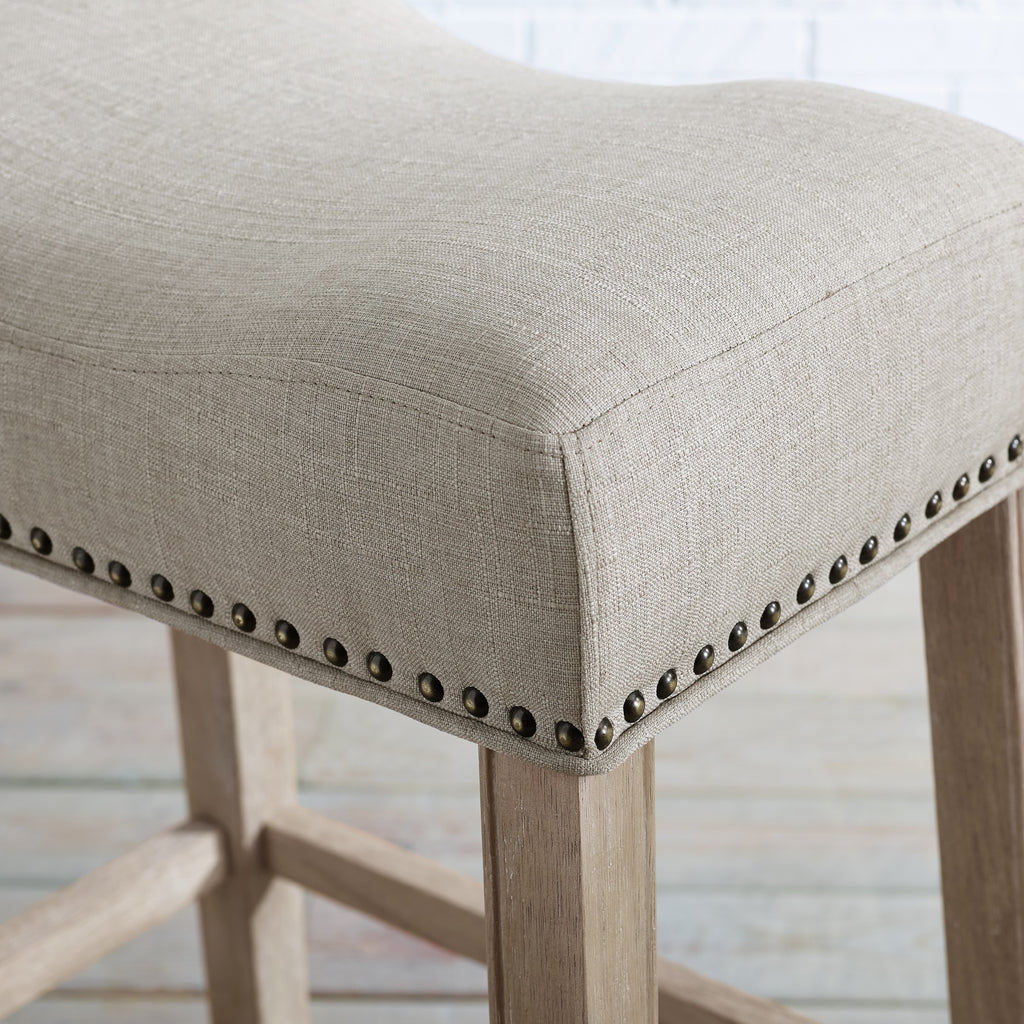 Picture of: Coco Upholstered Backless Saddle Seat Bar Stools 29 Height Set Of 2 Roundhill Furniture