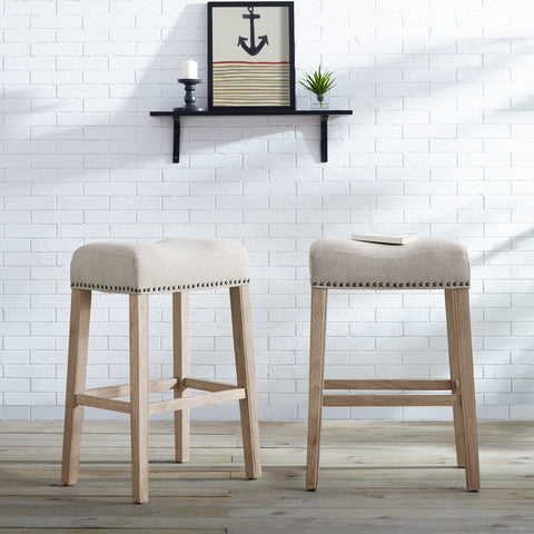 "CoCo Upholstered Backless Saddle Seat Bar Stools 29"" height Set of 2, Tan"