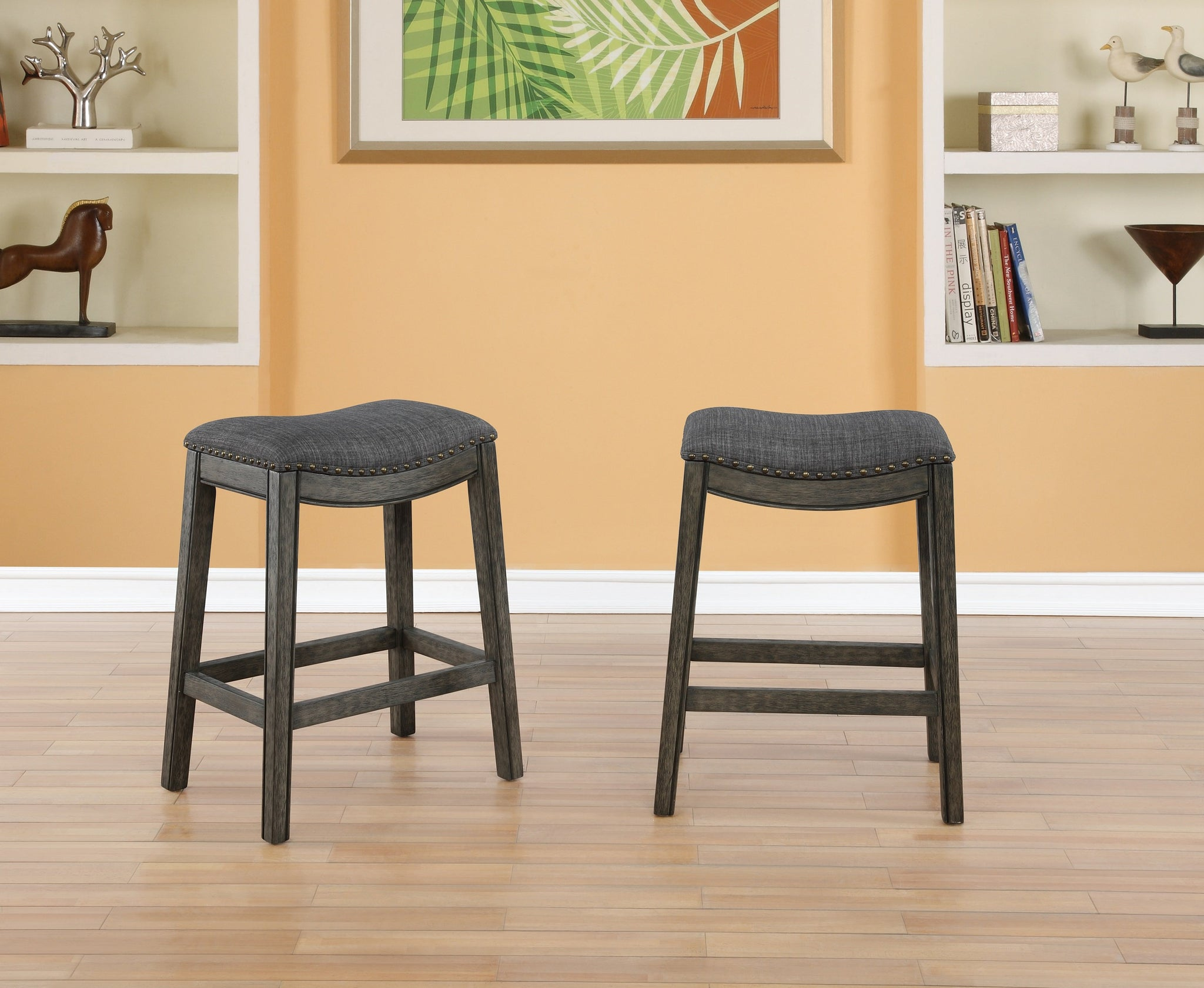 Maroni Finish Faric Upholstery Nailheaded Saddle Counter Stool in Gray, Set of 2