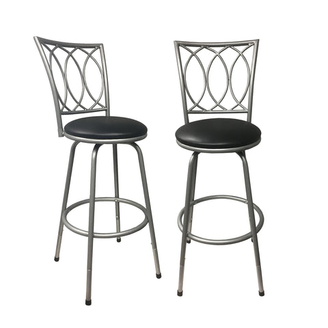 Redico Bar/ Counter Height Adjustable Powder Coated Metal Barstools, Set of 2, Silver