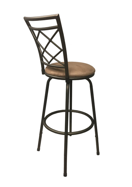 Halfy Round Seat Bar/Counter Height Adjustable Metal Brown Bar Stool