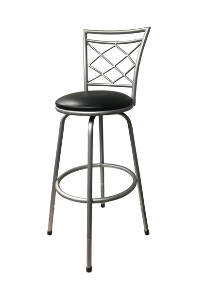 Halfy Round Seat Bar/Counter Height Adjustable Metal Silver Bar Stool
