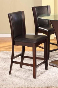 Dark Brown Solid Wood Counter Height Pub Stools  Set of 2