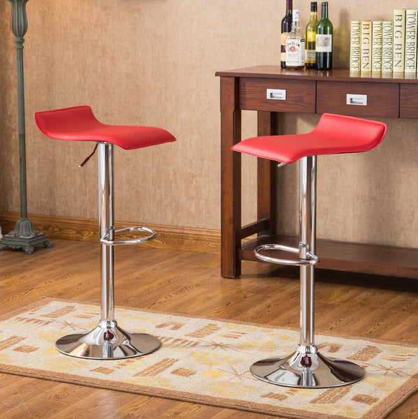 Contemporary Chrome Air Lift Adjustable Swivel Stools with Red Seat  Set of 2
