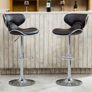 Masaccio Brown Cushioned Leatherette Upholstery Airlift Adjustable Swivel Barstool with Chrome Base, Set of 2