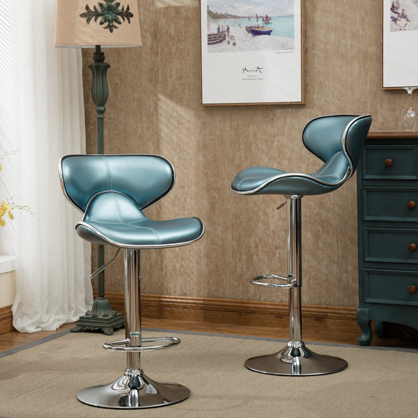 Masaccio Blue Cushioned Leatherette Upholstery Airlift Adjustable Swivel Barstool with Chrome Base, Set of 2