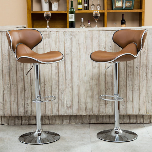 Masaccio Caramel Cushioned Leatherette Upholstery Airlift Adjustable Swivel Barstool with Chrome Base, Set of 2