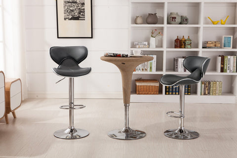 Masaccio Grey Cushioned Leatherette Upholstery Airlift Adjustable Swivel Barstool with Chrome Base, Set of 2