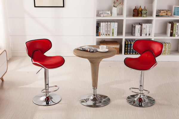 Masaccio Red Cushioned Leatherette Upholstery Airlift Adjustable Swivel Barstool with Chrome Base, Set of 2