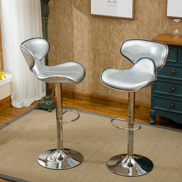 Masaccio Silver Cushioned Leatherette Upholstery Airlift Adjustable Swivel Barstool with Chrome Base, Set of 2