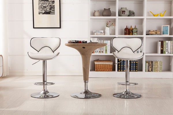 Masaccio White Cushioned Leatherette Upholstery Airlift Adjustable Swivel Barstool with Chrome Base, Set of 2