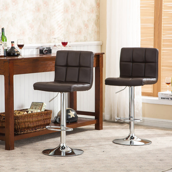 Swivel Elegant PU Leather Modern Adjustable Hydraulic Barstools, Brown