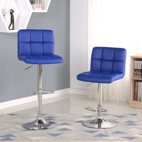 Copy of Swivel Leather Adjustable Hydraulic Bar Stool, Set of 2, Blue