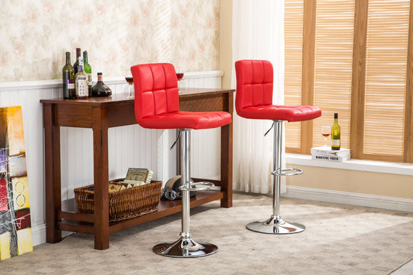 Swivel Faux Leather Adjustable Hydraulic Bar Stool - Set of 2